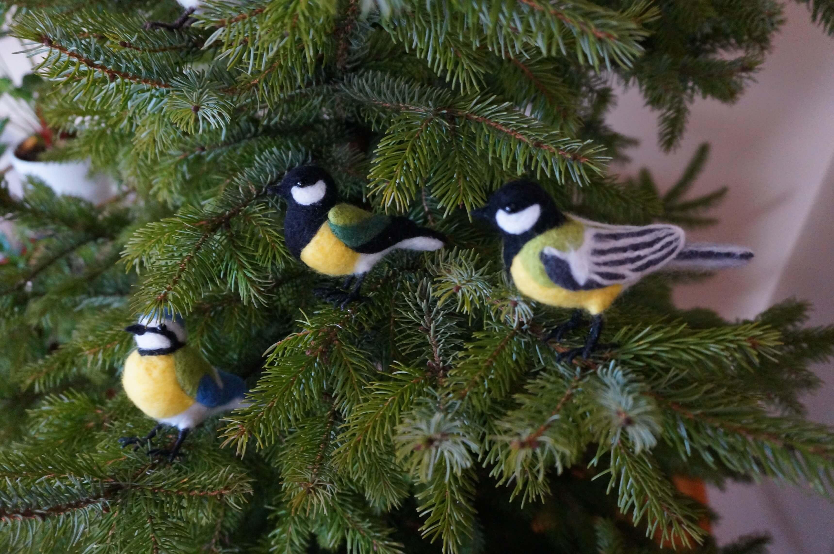 ptaki figurki filc
