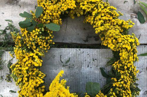 żółty wianek wrotycz diy