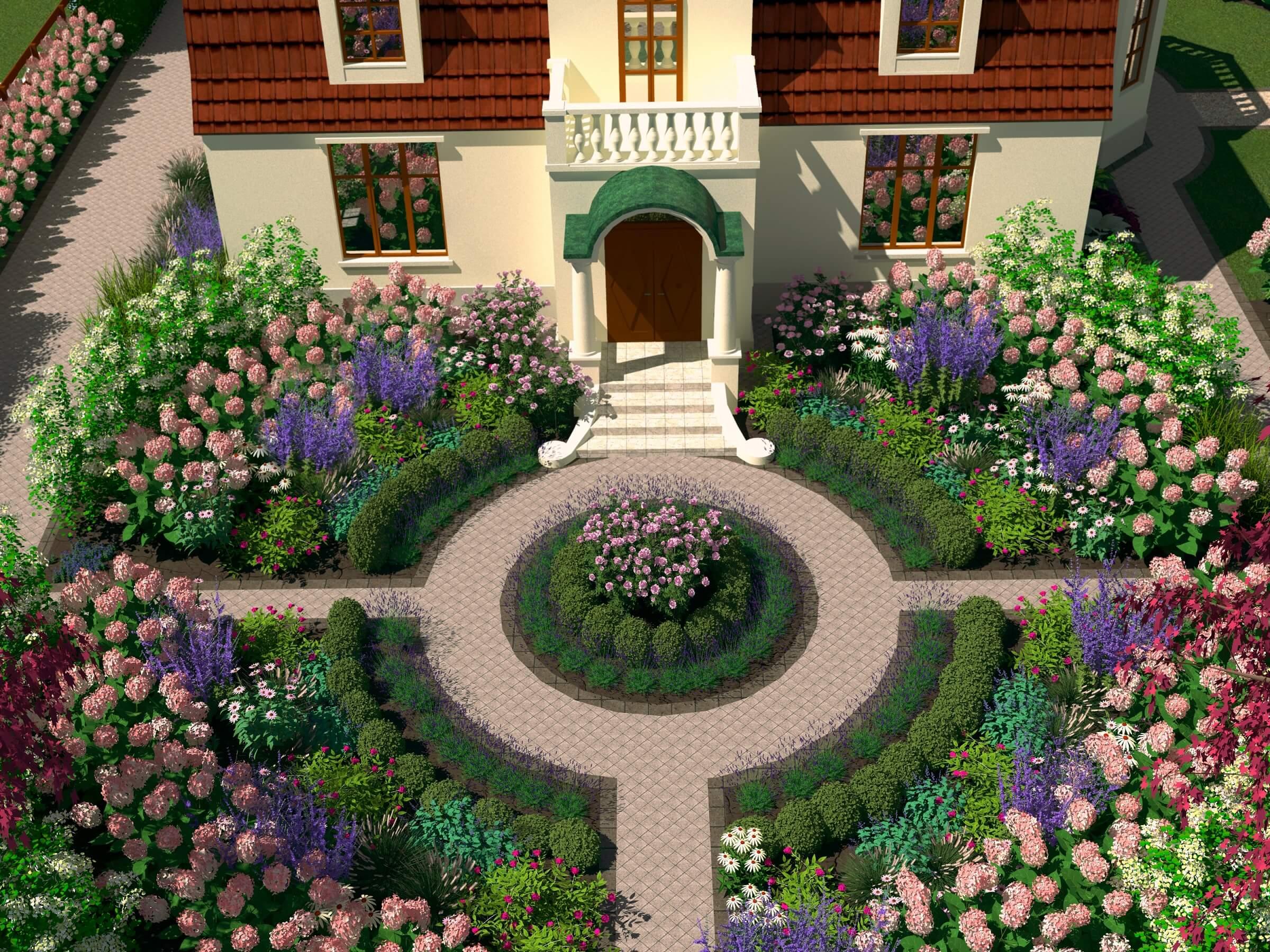 rabata przed domem ogród dworek